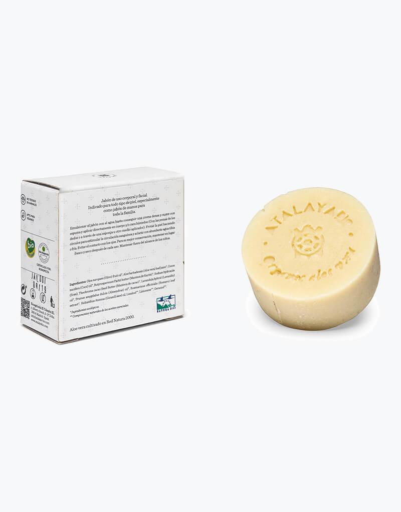 Jabón de aloe vera y lavanda. 100 gr. Caja por detrás y jabón